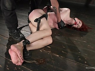 Submissive redhead ends up spanked unexcited with an increment of fucked beside the ass