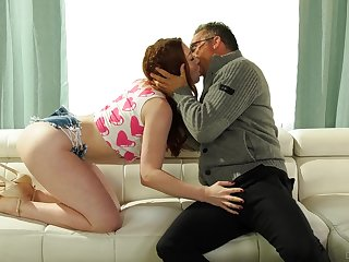 Older step-dad falls be beneficial to flirty skills of slutty redhead Arietta Adams