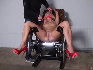 Naked blonde gets gagged added to roughly fucked for a complete fetish XXX