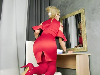 Madam in red dress Water Fire is masturbating wet pussy after striptease
