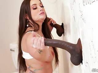 Gia Paige makes good justify of black cocks and a public bathroom honourableness hole