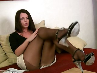 It doesn't take long for will not hear of to corps all over to will not hear of pantyhose and she is so hot