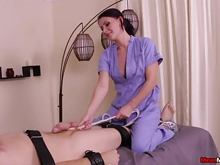 Horny brunette massage expert pleasures her pussy and his dick
