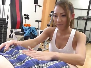 Asian babe is getting her hairy pussy filled become public a rock hard dick, in get under one's gym