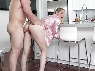 Hot uncle's wife in pajama Addie Andrews offers himself in the kitchen