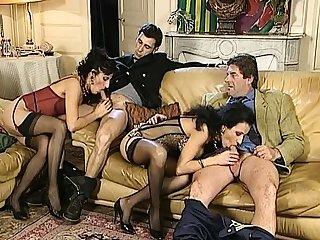 Misusage before vintage group sex