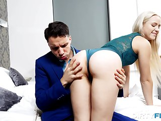 Rather flexible pale tow-headed girl Kastiel Cherry gives a blowjob and fucks well