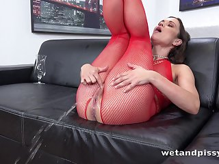 Frying foetus in red fishnet lucubrate Alyssa Reece goes crazy about masturbation